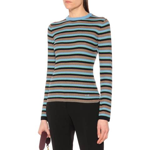 VICTORIA, VICTORIA BECKHAM Pool Blue Fitted Wool Jumper