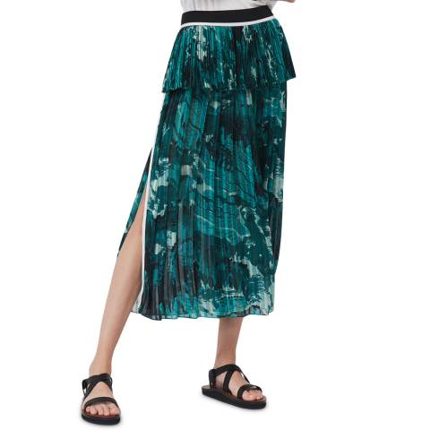 VICTORIA, VICTORIA BECKHAM Green Landscape Landscape Print Pleated Skirt