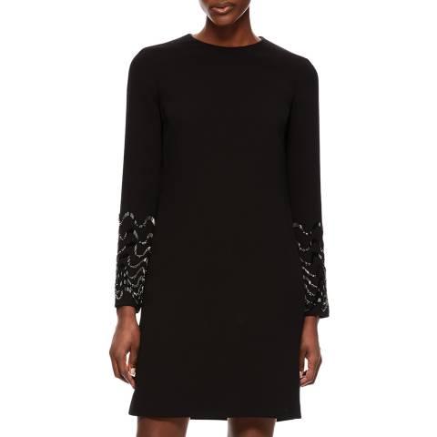 VICTORIA, VICTORIA BECKHAM Black Embellished Shift Dress
