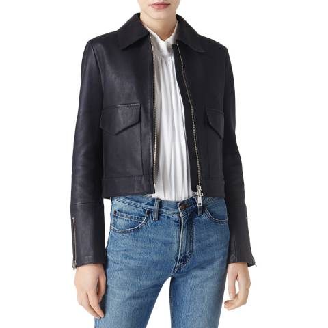 VICTORIA, VICTORIA BECKHAM Midnight Blue Patch Pocket Leather Jacket