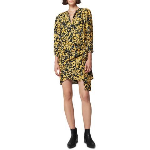 VICTORIA, VICTORIA BECKHAM Midnight/Mustard Side Tie Dress