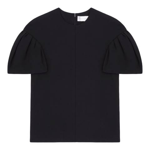 VICTORIA, VICTORIA BECKHAM Navy Tuck Sleeve Wool Blend Top