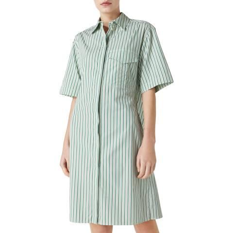 VICTORIA, VICTORIA BECKHAM Pistachio White Open Back Shirt Dress