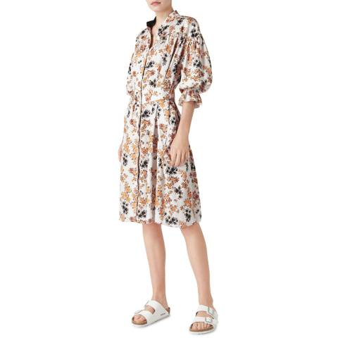 VICTORIA, VICTORIA BECKHAM Ditsy Mustard Short Sleeve Shirt Dress
