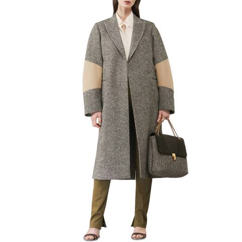 Victoria Beckham Black/Beige Trench Patch Tailored Wool Coat