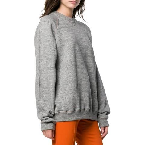Victoria Beckham Grey Melange Embroidered Sweatshirt