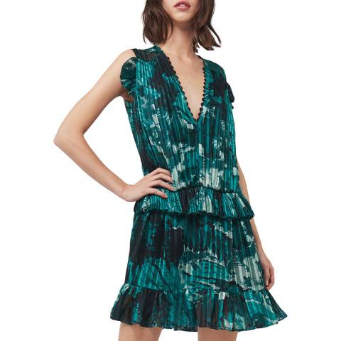 VICTORIA, VICTORIA BECKHAM Green Landscape Ruffled Print Mini Dress