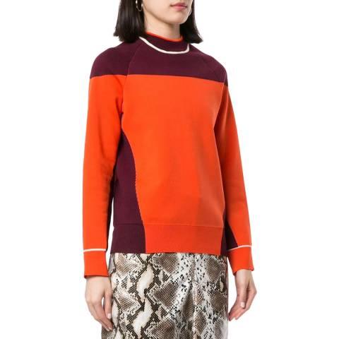 Victoria Beckham Orange Colour Block Wool Blend Jumper