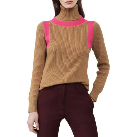 Victoria Beckham Camel/Pink Contrast Ribbed Cashmere Jumper