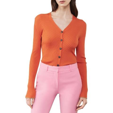Victoria Beckham Bright Orange Chevron Rib Cardigan