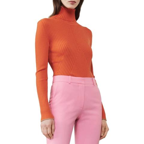 Victoria Beckham Bright Orange Slim Polo Neck