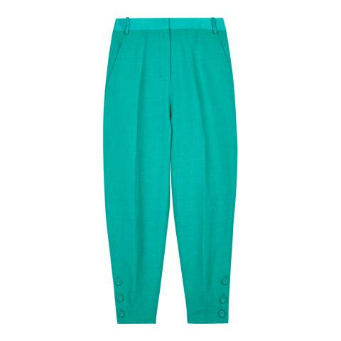 VICTORIA, VICTORIA BECKHAM Kelly Green Slim Cropped Trousers