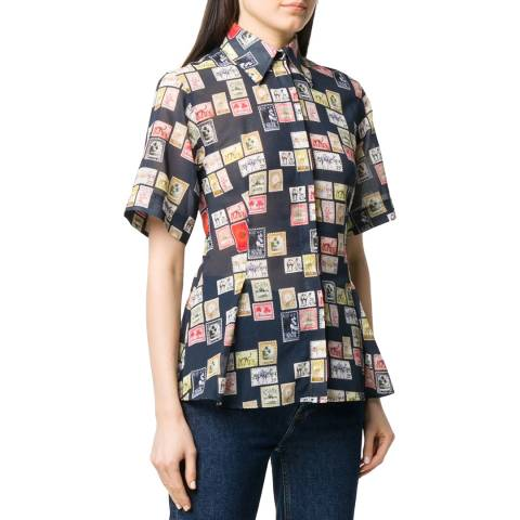 VICTORIA, VICTORIA BECKHAM Postage Stamp Midnight Short Sleeve Shirt