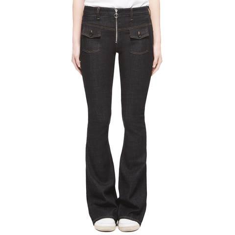VICTORIA, VICTORIA BECKHAM Black Zipper Flared Stretch Jeans