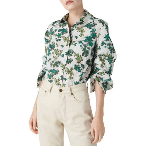 VICTORIA, VICTORIA BECKHAM Ditsy Greens Gathered Sleeve Shirt