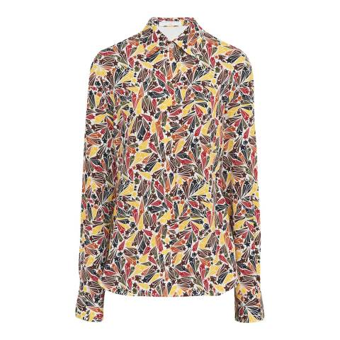 Victoria Beckham Cream-Multi Star Print Shirt