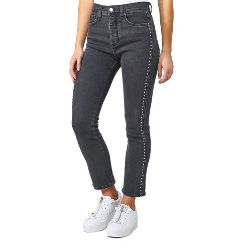 VICTORIA, VICTORIA BECKHAM Washed Black/Stones Slim Kick Jeans