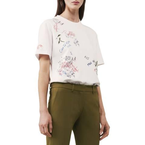 Victoria Beckham Optic White Graffiti Embroidered T-Shirt