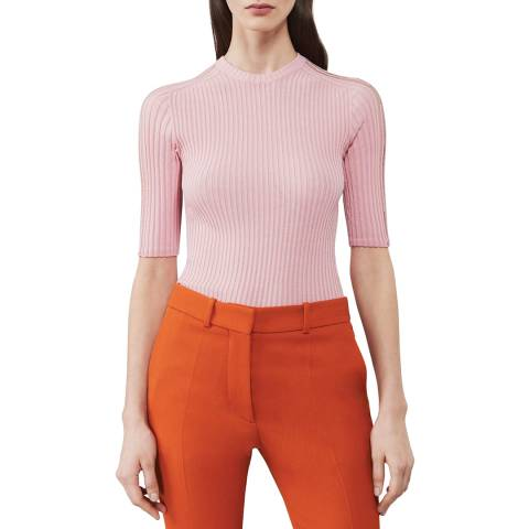 Victoria Beckham Pale Pink Ladder-Detail Short Sleeve Top