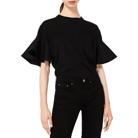 VICTORIA, VICTORIA BECKHAM Black Ruffle Sleeve T-Shirt