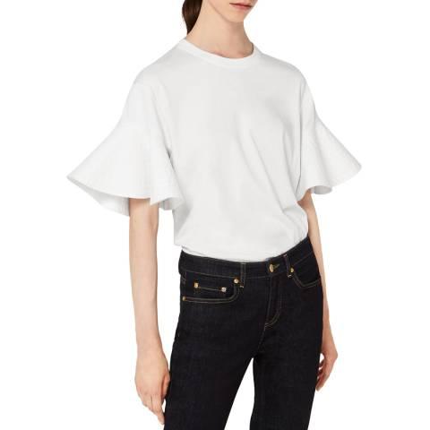 VICTORIA, VICTORIA BECKHAM White Ruffle Sleeve T-Shirt
