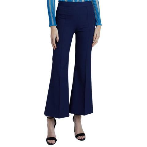 VICTORIA, VICTORIA BECKHAM Dusk Blue Kick Flare Trousers