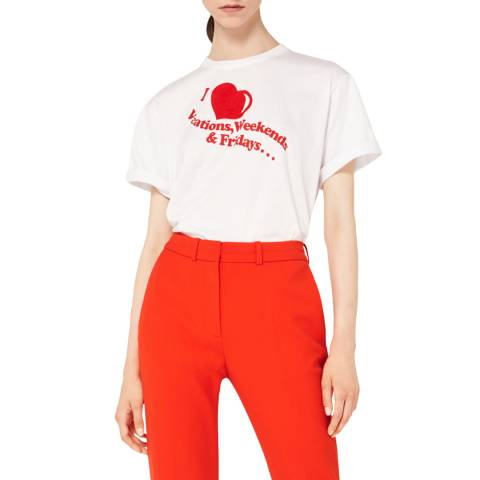 VICTORIA, VICTORIA BECKHAM White/Flame Red I Love Weekends T-Shirt
