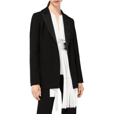 VICTORIA, VICTORIA BECKHAM Black Satin Panel Tuxedo Jacket