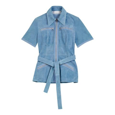 VICTORIA, VICTORIA BECKHAM Cornflower Zip Pocket Shirt Jacket