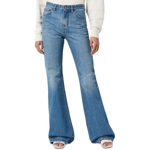VICTORIA, VICTORIA BECKHAM Azure Blue Super High Flared Jeans