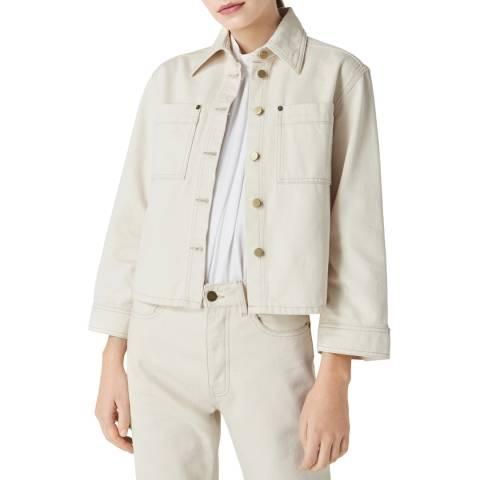 VICTORIA, VICTORIA BECKHAM Ecru Cropped Sleeve Jacket