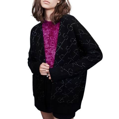 MAJE Black Maison Relaxed Wool Blend Cardigan