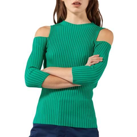 MAJE Green Cold Shoulder Knitted Jumper