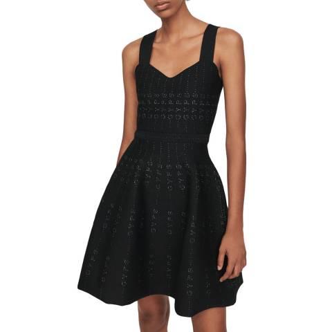 MAJE Black Relief Heart Neck Dress