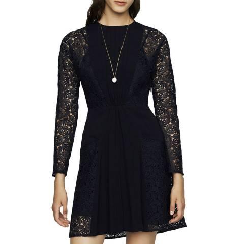 MAJE Navy Lace & Crepe Dress