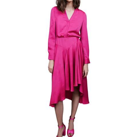 MAJE Pink Rushia Midi Dress