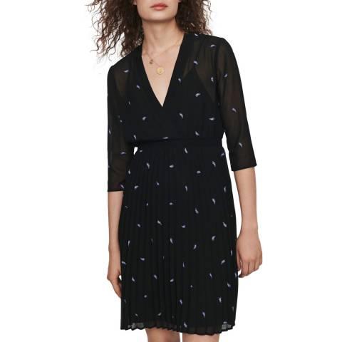 MAJE Black Riviere V Neck Dress