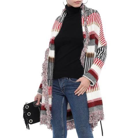 MAJE Multi Fringed Knitted Wool Blend Cardigan