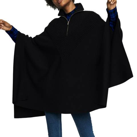 MAJE Black 3/4 Zipped Wool Blend Cape