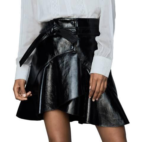MAJE Black Vinyle Leather Skirt