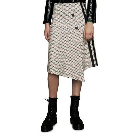 MAJE Checked Asymmetric Skirt