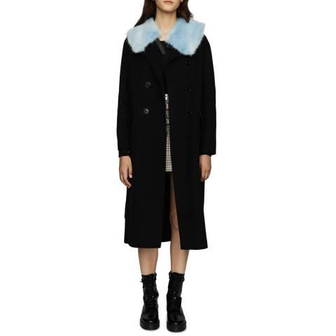 MAJE Black Double Face Wool Blend Coat