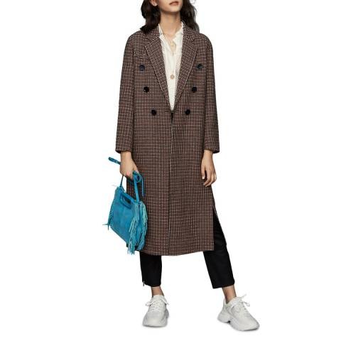 MAJE Brown Checked Wolen Coat