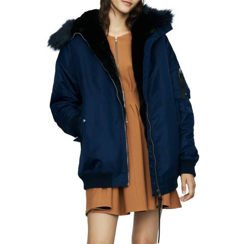 MAJE Blue Puffer Coat