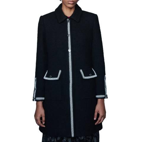 MAJE Black Genali Fitted Wool Blend Coat