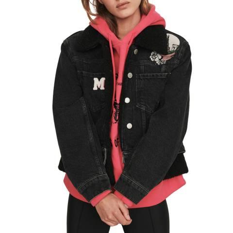 MAJE Black Bichon Buttoned Denim Jacket