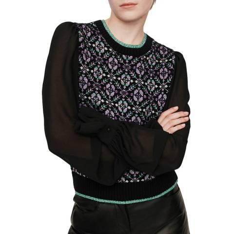 MAJE Black Maely Sheer Wool Blend Jumper