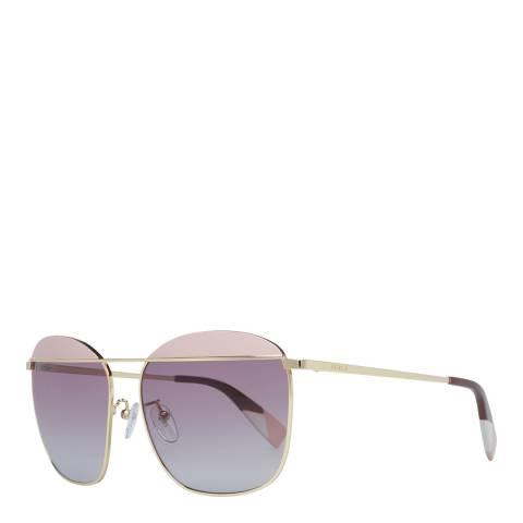 Furla Rose Gold Pink Aviator Sunglasses
