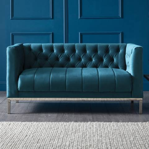 The Great Sofa Company Mayfair Two Seater Velvet Peacock Stainless Steel Legs