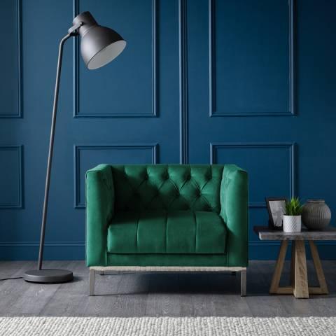 The Great Sofa Company Mayfair Loveseat Velvet Jasper Stainless Steel Legs